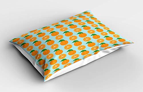 ABAKUHAUS Oranje Siersloop voor kussen, Vitamine C Half gesneden fruit, standaard maat bedrukte kussensloop, 90 x 50 cm, Pale Blue en Oranje