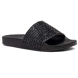 Black Rhinestone Slide Slip On Mules Summer Sandal