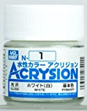 GSIクレオス 新水性カラーアクリジョン ホワイト(白) N-1 (模型用塗料)