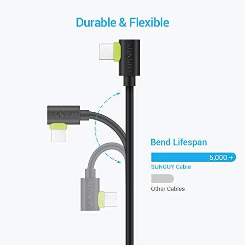 SUNGUY USB C Kabel Kurz Winkel [0.3 m 2Pack] 90 Grad Typ C Schnellladekabel Datenkabel für Samsung Galaxy S10 Note10 A80, Huawei P20 Pro,Redmi Note 7,Oneplus 7