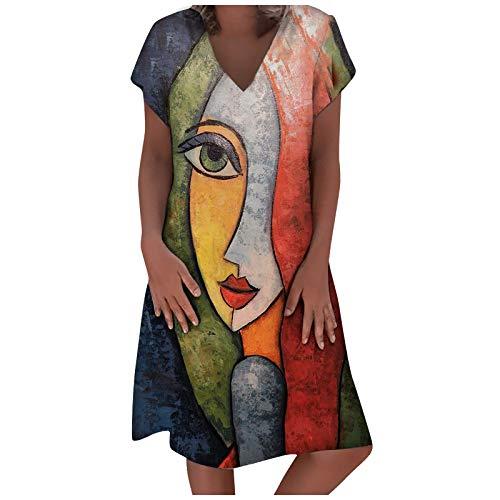 Damen Kleid Leinenkleid V-Ausschnitt Freizeitkleider Blusenkleid Sommerkleider Retro Style Print Shirt Baumwolle Und Leinen Lässig Plus Größe Lose Tuchkleid