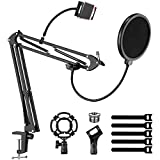 Mic Boom Arm, EJT Multi-Accessories Adjustable Microphone Stand, Desk Mic Stand for Blue Yeti Snowball, Hyperx Quadcast and Other Condenser Microphones