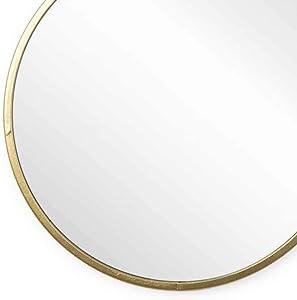 Black Velvet Studio - Espejo Mirror Mirror, Metal, Color Dorado, Forma Redonda. Estilo nórdico. 25x25x1 cm.