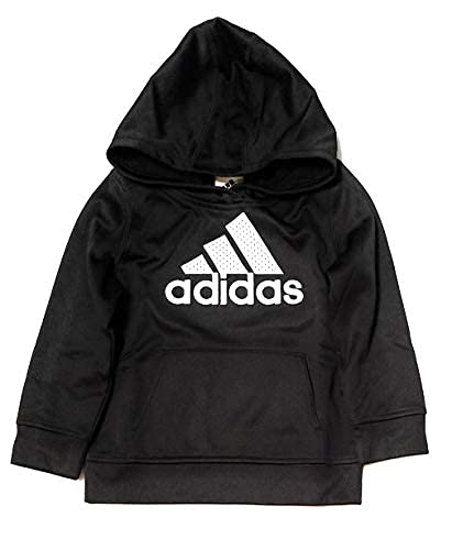 adidas Youth Boys Pullover Fleece Lined Hoodie Jackets Sweatshirts (4T, Black/White)