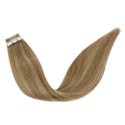 LaaVoo 22Pulgadas Tape in Extensiones de Cabello Humano Real 8/16/8 Balayage Light Brown and Dark Honey Blonde 20PCS 50G Tape in Hair Remy Human Hair Extensions Seamless Skin Weft Human Hair