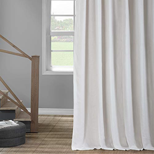HPD Half Price Drapes LN-XS17 French Linen Curtain (1 Panel), 50 X 96, Crisp White