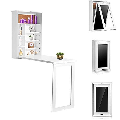 Mesa de pared plegable, convertible multifunción, escritorio de madera, para colgar en la pared, escritorio flotante con gran área de almacenamiento para oficina en casa, color blanco