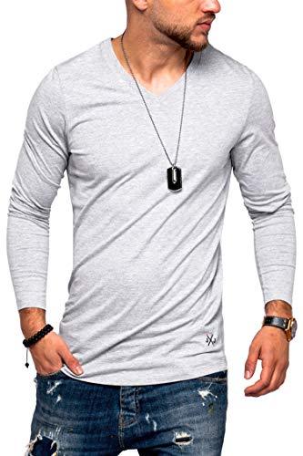 JACK & JONES Herren Langarmshirt Infinity Longshirt V-Neck T-Shirt Casual Basic (3XL, Light Grey Melange)
