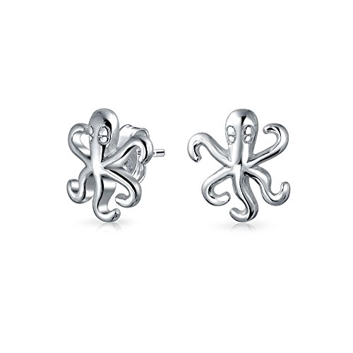 Delicate Tiny Nautical Sea Creature Ocean Squid Octopus Stud Earrings For Women For Teen 925 Sterling Silver