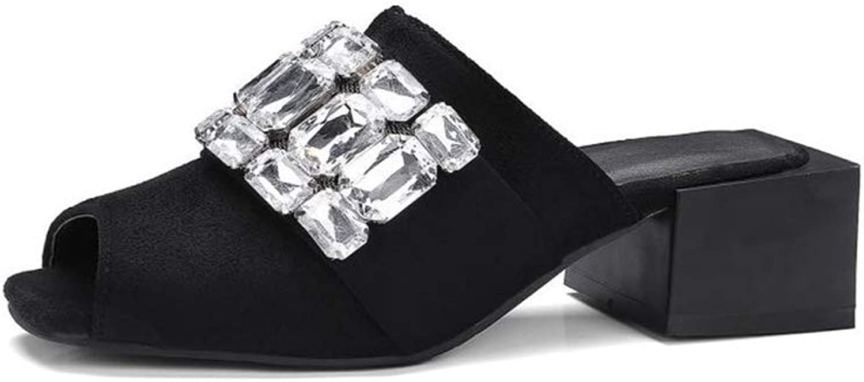 Fancyww Women's Low Slip On Sandal Slide Comfortable Everyday Block Heels