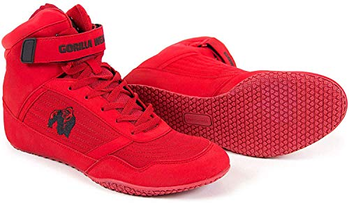 Gorilla Wear Bodybuilding Shoes High Tops Black and Red Fitness Shoes Gym Sports Trainers