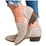NOLDARES Cowboy Boots for Women Ankle Wedges Booties Retro Low Heel Comfort Ankle Boots Cut-Out Roman Walking Short Boots