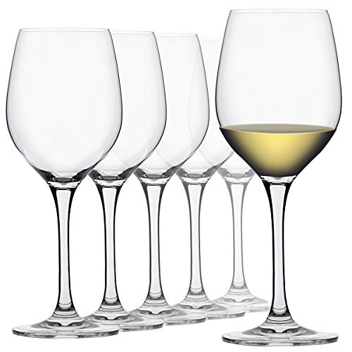 FAWLES White Wine Glasses, Set of 6, Non-leaded Crystal Glass, 10 Ounce Capacity Clear Standard Wine Glass, Dishwasher Safe