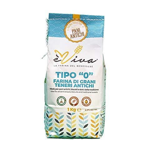 Farine de blés tendres anciens type t55 avec germe de blé vivant 1 kg. 100% Italienne. 100% naturelles.