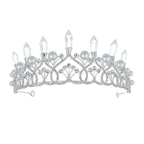 Kristall Tiara Krone, Strass Stirnband, Hochzeit Braut Kronprinzessin Schönheit Seite Geburtstagsfeier für Kinder Mädchen und Erwachsene verkleiden Sich