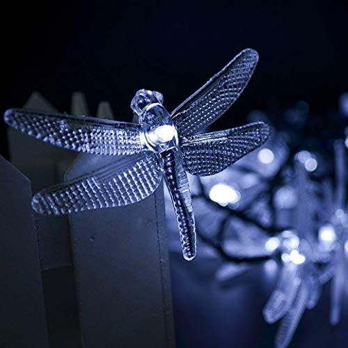 Dragonfly Solar Powered String Lights Outdoor Solar Fairy Lights Solar Backyard Patio Garden Walkway LED Tree String Lights Landscape 20 LED Wire Lights Chrismas Party Wedding Decoration Cool White