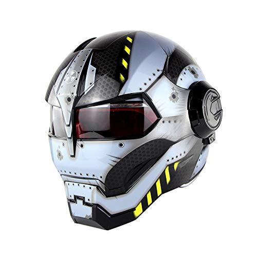 QWE Motorcycle Helmet D.O.T Certified Motocross Full Face Casco Moto Flip Open Mask Helmet, Iron Man Transformers-M, L, XL,XL(60~61CM)