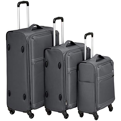 AmazonBasics 3 Piece Lightweight Softside Spinner Suitcase Luggage Set - Grey