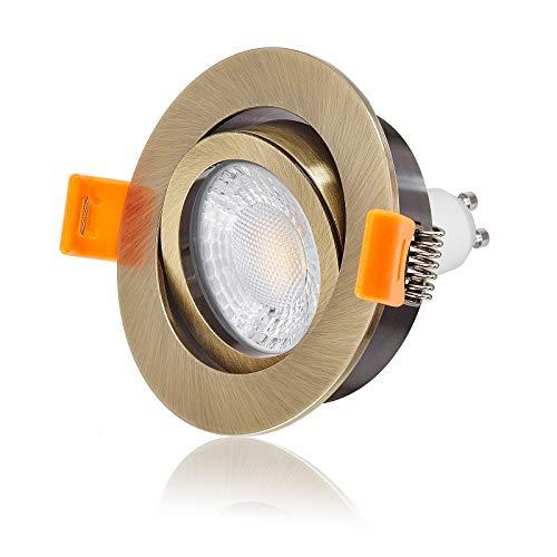 Ledox Led Einbaustrahler Set dimmbar & schwenkbar inkl. Einbaurahmen Forma Bronze Messing 230V 7W GU10 3000k warmweiß 560 Lumen 50W Ersatz mit Ra>93 (5er Set)