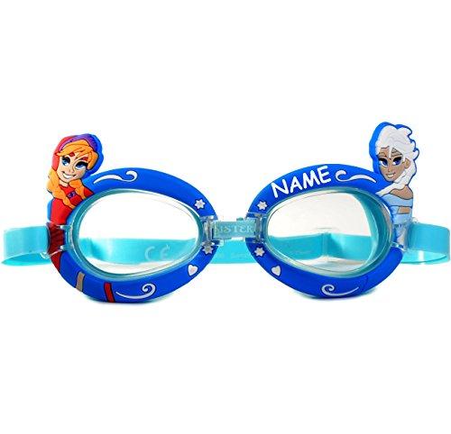 alles-meine.de GmbH 3-D Effekt _ Schwimmbrille / Chlorbrille / Taucherbrille -  Disney Frozen - die Eiskönigin  - incl. Name - Kinder von 2 bis 12 Jahre - verstellbar / wasserd..