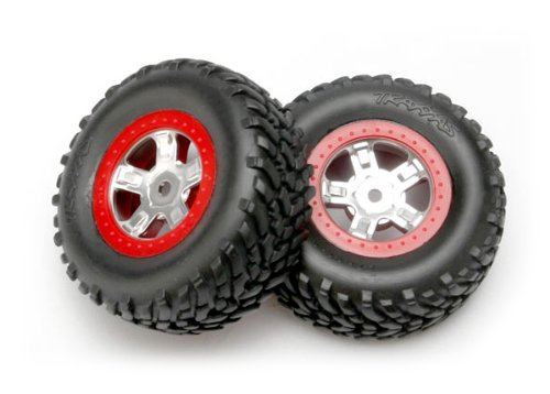 Traxxas 7073A 1/16th Scale SCT Off-Road Racing Tires Pre-Glued on Red Beadlock-Style, Satin Chrome Wheels (pair)