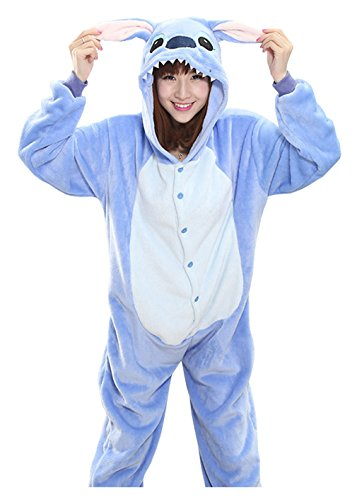Sweet Invierno Pijama para Mujer Diseño de Animal Unisexo Adulto Traje Disfraz (Stitch Bleu, S)