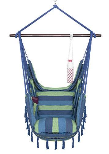 VITA5 Silla Colgante con 2 Cojines, Portavasos y Compartimento para Libros - Sillon Colgante XXL - Carga hasta 150 kg - Silla Hamaca Colgantes para Interior y Exterior (jardín) - (Azul/Verde)