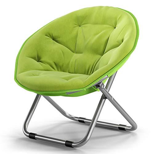 Faule Couch Tragbarer Moon Chair, multifunktionaler Klapp-Schlafsaal-Computer-Stuhl für drinnen und draußen, einzelne Liege (Color : Fruit Green)