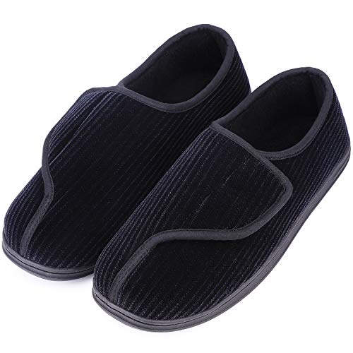 LongBay Men's Memory Foam Diabetic Slippers Comfy Warm Plush Fleece Arthritis Edema Swollen House Shoes (10, Black)