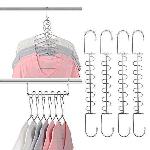 Giftol Metal Space Saving Hangers 12 Slots New Version Hanger Magic Cascading Hanger Closet Wardrobe Clothes Organizer(4 Pack)