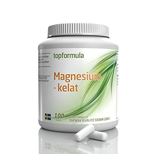 Magnesiumkelat 100 Kapslar | Magnesiumbisglycinat | Magnesium | Magnesium kapslar | Magnesium tillskott | Svensktillverkat av Topformula