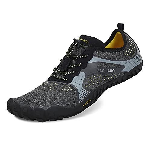 SAGUARO Zehenschuhe Unisex Sommer Trekking Schuhe Atmungsaktive rutschfeste Laufschuhe, 46 EU, Schwarz