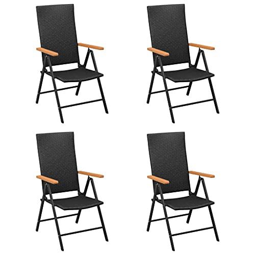 Nero Materiale: Rattan PE, alluminio con finitura verniciata a polvere, WPC Sedie da Giardino 4 pz in Polyrattan NeroArredamento Mobili da giardino Mobili e sedie da giardino Sedie da giardino