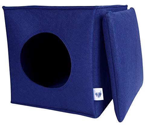 VIIRKUJA Filz Katzenhöhle in Blau inkl. Kissen Passend für z.B. IKEA Expedit & Kallax Regal - Extra Flauschiges Kissen - Besonders stabil und warm