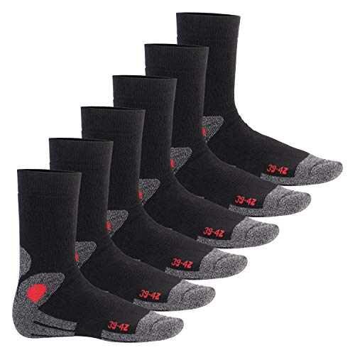 Footstar Damen & Herren Wintersocken (6 Paar), Warme Vollfrottee Socken mit Thermo Effekt - Schwarz-Rot 39-42