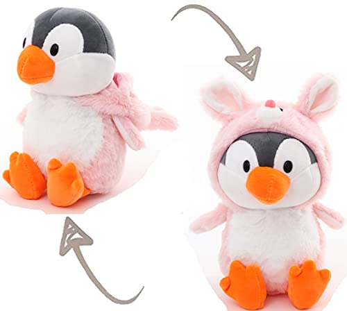Penguin Stuffed Animals in Pink Rabbit Costume, Adorable Plushies Penguin Wearing Coney Outfit, Plush Toys as Great Gift for Birthday, Valentine, Christmas Stuffed Animal for Daily 10 Inch
