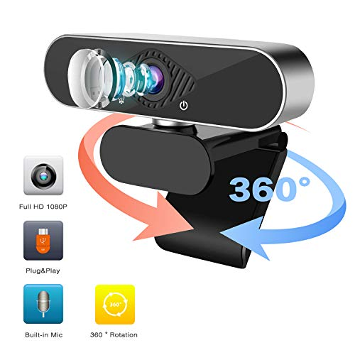 Webcam 1080P HD PC Camera - Full HD Wide Computer Camera, Microphone Laptop USB PC Webcam, Recording 1080p Video Web Camera or Calling, Conferencing, 120-Degree Live Streaming Widescreen Webcams