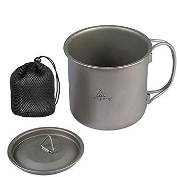 Camperig Batterie de cuisine de camping 400 ml en titane avec couvercle, poignée pliable et sac en maille, tasse à café ultra légère en titane pour camping, randonnée, pique-nique