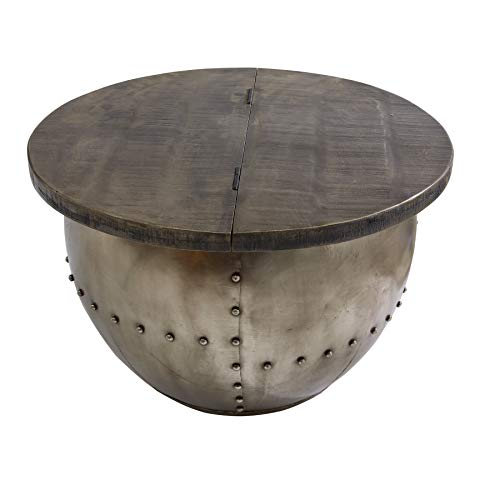 Riess Ambiente Design Couchtisch DRUMP Storage grau 68cm Mangoholz Industrial Wohnzimmertisch
