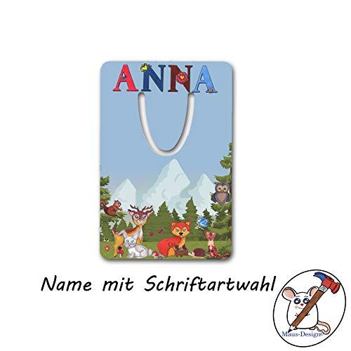Waldtiere Lesezeichen mit Name/Schriftartwahl/Fuchs, Reh, Hase, Eule/Aluminium / 5 x 7,5 x 0,07cm