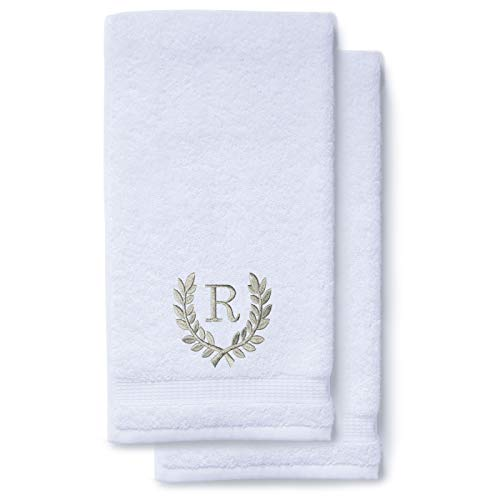 Monogrammed Hand Towels for Bathroom Kitchen Makeup | Personalized Gift for Wedding-Bridal | Roman Font Custom Luxury Turkish Towel | Spa Collection, Oversized, 16 X 30 Inch, Set of 2