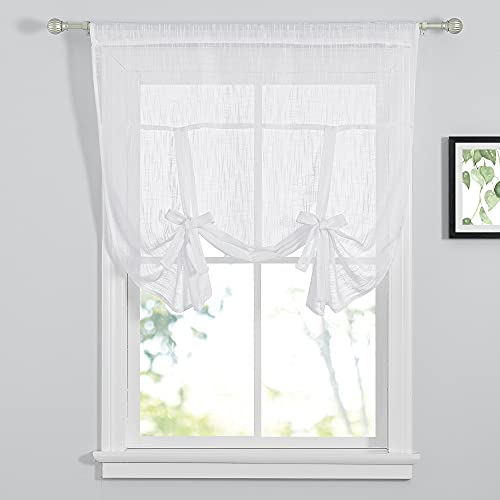 """PONY DANCE Kitchen Window Valance - Short Curtains Rod Pocket Top Tie Up Shade Linen Look Semi Sheer Decoration for Kitchen Bedroom, 42"""" x 45"""", White, 1 PC"""