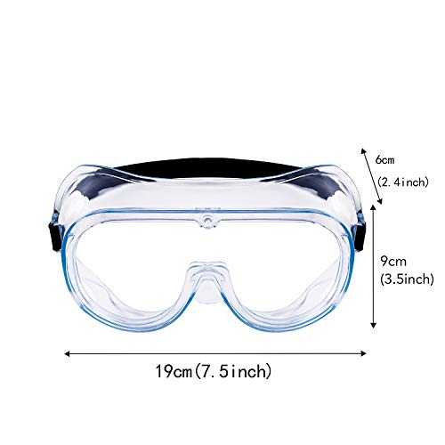 Safety Goggles, Protective Safety Glasses, Soft Crystal Clear Eye Protection - Perfect for Construction, Shooting, Lab Work, and More, 2 Pack (White)
