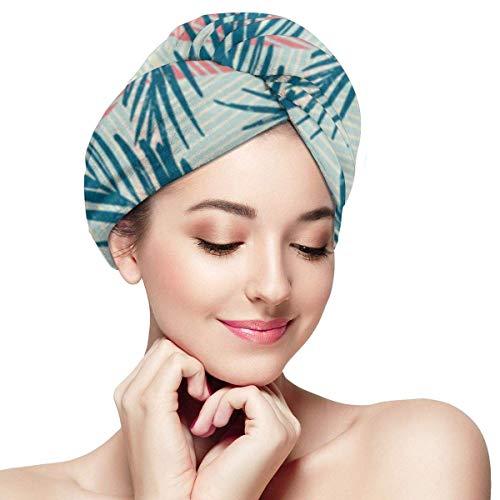 XBFHG Enveloppes De Serviette De Cheveux en Microfibre pour Les FemmesCapuchon De Cheveux Secs Rapides avec Bouton - Motif Exotique Palm Aquarelle Main Et Tendance Géométrique des Feuilles D'été