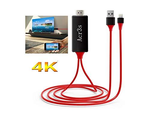 Compatible con cable de teléfono a HDMI, cable adaptador HDMI para teléfono, 1080P digital AV HDMI adaptador para teléfono XS/XSmax/XR/X/8/7/6/plus Pad Pod a TV