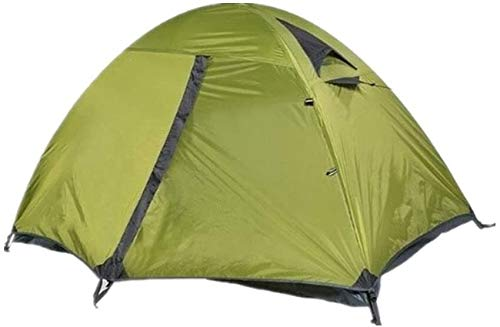 Lhak Portable outdoor tent Summer hiking camping tent double rain to climb (Color : Green)