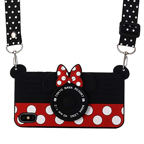 Shinymore iPhone XR Case with Lanyard, 3D Cute Soft Silicone Cartoon Minnie Mouse Camera Design Case for iPhone XR