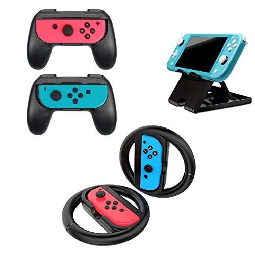 GG Acc by GoGik - 2 Grips et 2 volants noirs pour Joy-Con Nintendo Switch/OLED et support écran, idéal pour jouer en multijoueur et en déplacement, manettes ergonomiques, compatibles gauche et droite