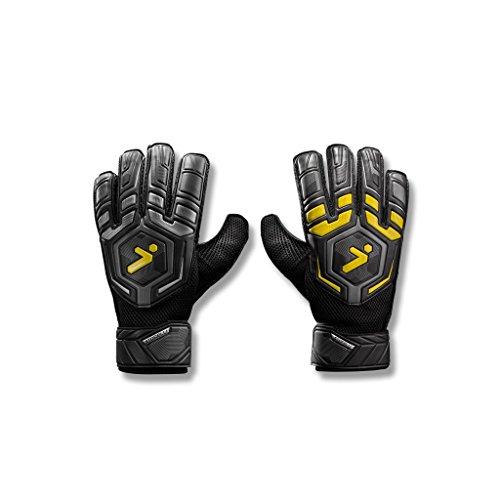 Storelli Gladiator Challenger 1.0 Goalkeeper Gloves | Protective Soccer Goalie Gloves with Finger Spines | Enhanced Finger and Hand Protection | Black | Size 7