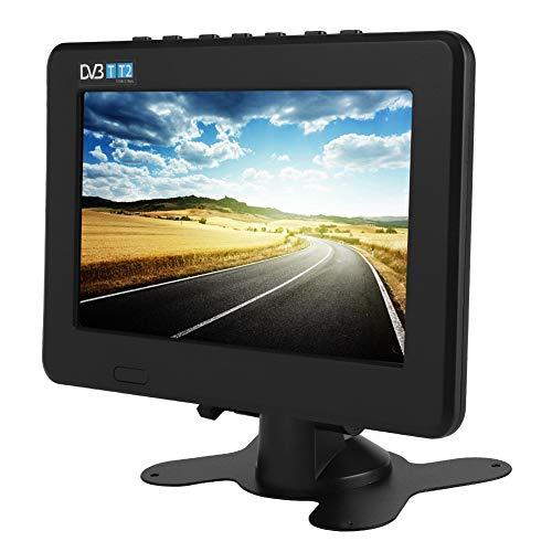 Heayzoki TV Digital portátil, DVB-T2 Alta sensibilidad TV Digital para automóvil Estéreo Que rodea 1080P Televisión para automóvil, para automóvil, Caravana, Camping, al Aire Libre, Cocina(7in)